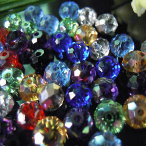 100-2000 Faceted MIXED Rondelle Crystal Glass Beads 3mm 4mm 6mm 8mm