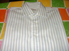 """TM LEWIN PALE BLUE STRIPED SHIRT 16""""  L/S HARDLY WORN EX. CONDITION"""