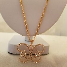 Rose Gold Plated 18 Inch Double Chain With Butterfly Crystal Pendant
