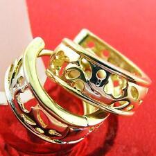 HOOP HUGGIE EARRINGS 18K G/F GOLD MULTI-COLOUR ANTIQUE FILIGREE DESIGN FS3AN332