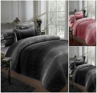 OMBRE DIAMANTE TEDDY Fleece Duvet Cover + Pillow Case Cosy Warm Soft Bedding Set
