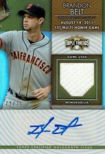 2011 TOPPS TRIPLE THREADS -  BRANDON BELT - GAME USED RELIC AUTO CARD #72/75
