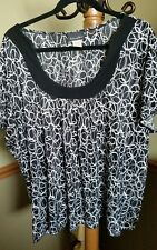 Brittany Black Plus Size 2X 3X Black White Pullover SS Top