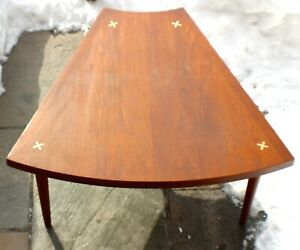 Vintage Midcentury Walnut Wedge Shape End Table  Merton Gershun 1960's