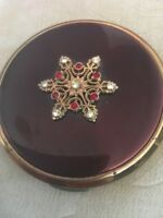 Vintage Kigu Compact Red Enamel And Snowflake With Red And Clear Stones