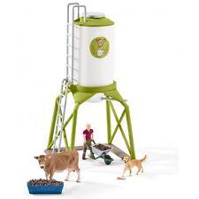 Schleich Granja Mundo 41429 Silo de alimentación con Kuh,Agricultora,Perro+