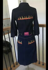 Awesome Vintage Betsey Johnson Flame Denim Jacket & Skirt Set Xs 🔥