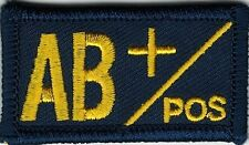 Navy Coast Guard Blue Yellow Blood Type AB+ Positive Patch VELCRO® BRAND Hook Fa