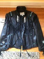 Arturo Burray Olson Native American Beaded Art Vtg Leather Jacket - Size 42