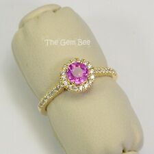 14k Solid Yellow Gold Natural Pink Sapphire Diamond Ring Size 6