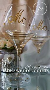 Swarovski Crystal Rhinestones Personalized Wedding Toast Wine Glass Flute Mr Mrs