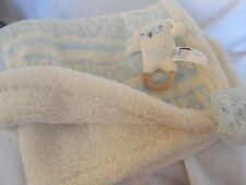 Pottery Barn Baby Knit Blue Owl Stroller Blanket & Rattle NWT