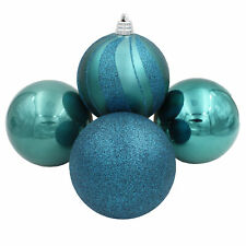 Christmas Tree Decoration - 4 Pack 150mm Baubles - Teal