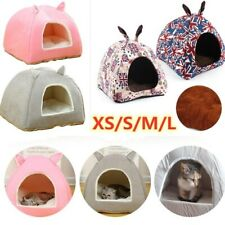 Pet Cat Dog House Sleeping Bed Cushion Warm Soft Comfortable Foldable Cave Tent
