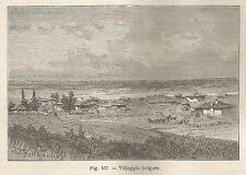 A1737 Villaggio bulgaro - Xilografia - Stampa Antica del 1895 - Engraving