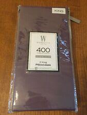 New Set of 2 Purple 100% Cotton Sateen 400 Thread Count Wamsutta King Pillowcase