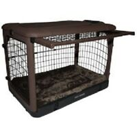 PET GEAR THE OTHER DOOR STEEL CRATE WITH BOLSTER PAD & CARRY BAG