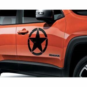 Jeep Renegade Door Sticker Army Star x2 Black 71807400