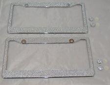 2 All White Silver Bling Glitter Crystal Rhinestone License Plate Frame Car Auto