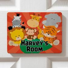 Personalised Cute Zoo Animals Children's Bedroom Door Name Sign Plaque DPE28