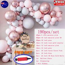 191PCS/Set Pink Balloons Arch Kit Tape Party Birthday Wedding Garland Decor Pump