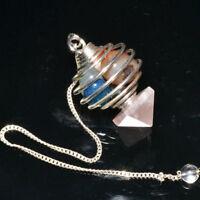 Natural Tumble Stone Spiral Cage Rose Quartz Pyramid Healing Dowsing Pendulum