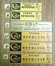 Colt Labels Vintage Woodsman Python Cobra Detective Special