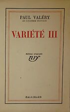 VALERY (Paul). Variété III. Nrf Gallimard. 1936. EO. 1 des 330 sur vélin pur fil