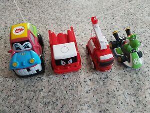 4 Autos: 1 mit Batterie, 2x Feuerwehr zum Aufziehen, Leiter ausziehbar, Top