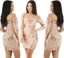 Abito ricamato Elegante Aderente Cerimonia Ballo Party Sequin Floral Dress M
