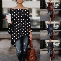 Fashion Women Ladies Off Shoulder Dot Print Irregular Hem Blouse Long Tops Tunic