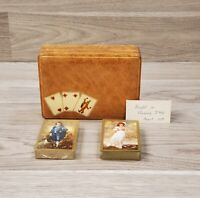 Vintage 1957 Italian Leather Double Deck Playing Card Holder Box w/ Arrco Cards