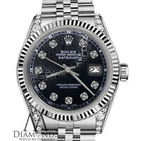 Ladies Rolex 26mm Oyster Perpetual Datejust Black Jubilee Diamond Dial 18K & SS