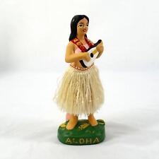"Hawaii Hula Girl Aloha Ukulele Dashboard Bobble Nodder Japan MIJ Hawaiian 6 3/4"""
