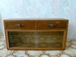 Antique  Vintage Wood&Engraved Glass  Medicine Cabinet Apothecary Wall Chest