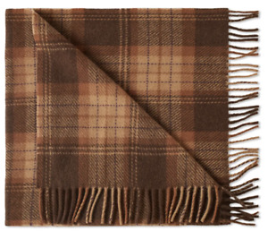 A.P.C. Large Check Scarf Tabacco Brown Wool Fringed