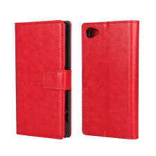 For Sony Xperia Z5 Compact Leather Wallet Card Flip Case Cover Stand Red