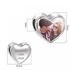 Personalised Heart Photo Charm 925 Sterling Silver Bead Bracelet Custom Engraved