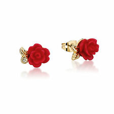 DISNEY Couture Beauty & la Bestia Gold-Plated incantato Orecchini rosa rossa