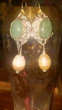 Orecchini  argento amazzonite e perle australiane