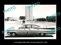 OLD 6 X 4 HISTORIC PHOTO OF NORTH DAKOTA STATE POLICE CHEVROLET PATROL CAR c1959