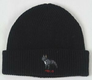 Polo Ralph Lauren Collectable Black French Bulldog Dog Wool Beanie Hat NWT