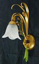 APPLIQUE LAMPADA DA PARETE LUCI LED FERRO BATTUTO FORGIATO ORO CRISTALLO ART.L23