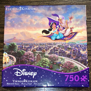 NEW SEALED Disney Thomas Kinkade Aladdin Jasmine 750 Piece Puzzle Ceaco Poster