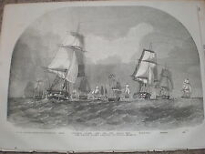 British navy Baltic Fleet departs Spithead Portsmouth 1854 old print