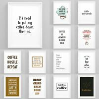Framed Coffee Art Prints Kitchen Wall Art Office Coffee Prints Funny Quotes Art