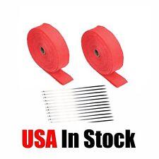 "2 Roll x 2"" 50Ft Red Fiberglass Exhaust Header Pipe Heat Wrap Tape+20 Ties Kit"