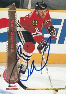 Eric Weinrich Autograph 94-95 Pinnacle Blackhawks Card Canadiens - Devils