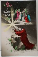 Happy Easter Hand Coloured Jesus holding Chalice Mary Angels 1920's Postcard C26