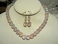 Pink Faceted Genuine Glass Crystal Bead Choker Necklace Earring Set